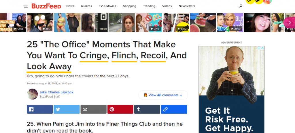 Buzzfeed uses power words in its headlines