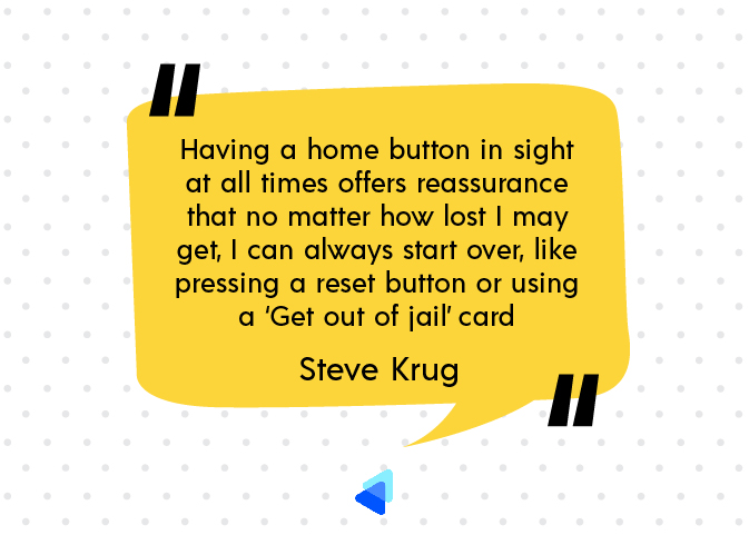 Having a home button - Steve Krug's quote