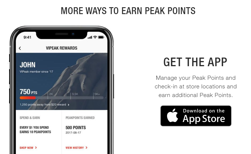 The North Face mobile app