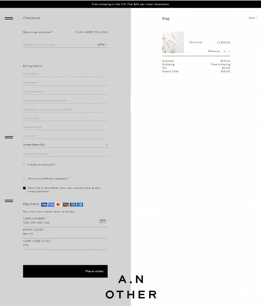A.N Other one-page checkout