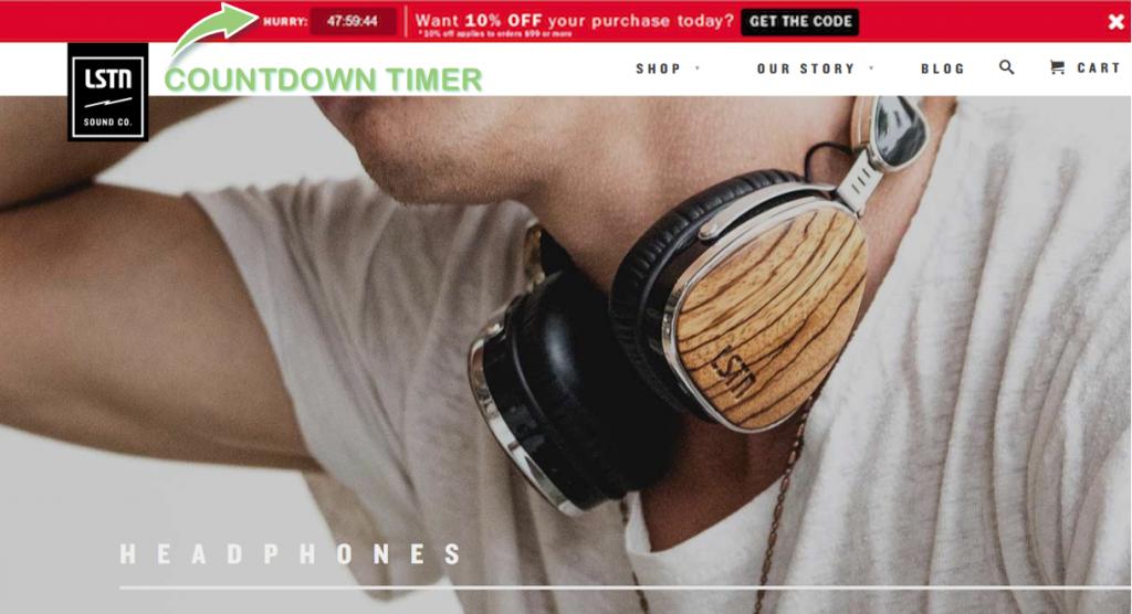 LSTNs countdown timer header bar