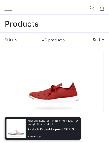 Display notifications of your recent sales