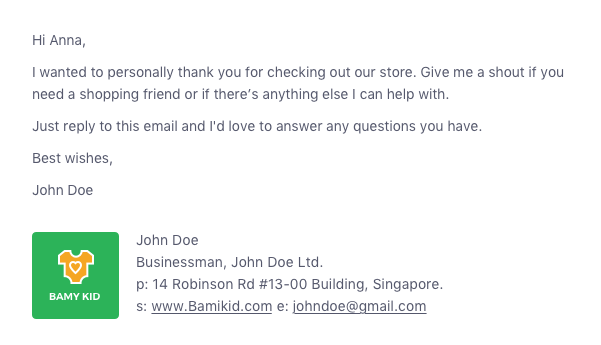 happy email thank you emails from founder